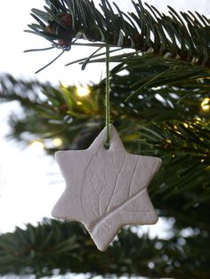 Leaf embossed air drying clay Christmas tree decorations