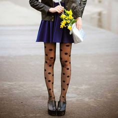 These elegant printed dots tights by Zohara feature a fashionable and unique Black polka dots print pattern on a classic 20 denier black sheer tights. Sheer Tights, Black Tights, Black Shoes, Polka Dot Print, Polka Dots, Polka Dot Tights, Purple Dress, Wearing Black, High Waisted Skirt