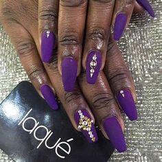 Rhinestones studded purple coffin nails