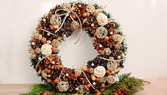 Christmas wreath with nuts
