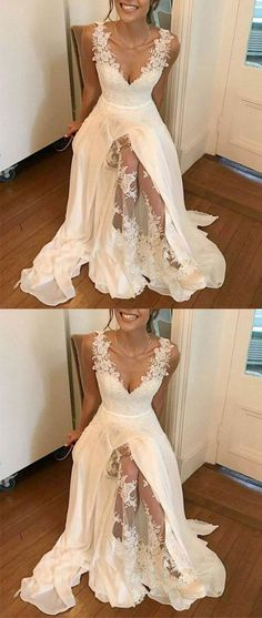 White v neck chiffon lace long prom dress, white evening dress is part of Wedding dresses Attention Please! When you purchase the dress, we will email to you within 24 hours to confirm the order a - Elegant Bridesmaid Dresses, Sexy Dresses, Bridal Dresses, Evening Dresses, Elegant Dresses, Summer Dresses, Formal Dresses, Long Dresses, Chiffon Dresses