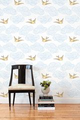This removable wallpaper tile is designed by Julia Rothman in Brooklyn and printed in Chicago on a matte, polyester wall fabric. $33