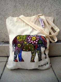 ~ This hand painted elephant bag is Artwork painted- Not a print! ~    - Painted with textile acrylic colors. Fixed so colors wont come off.