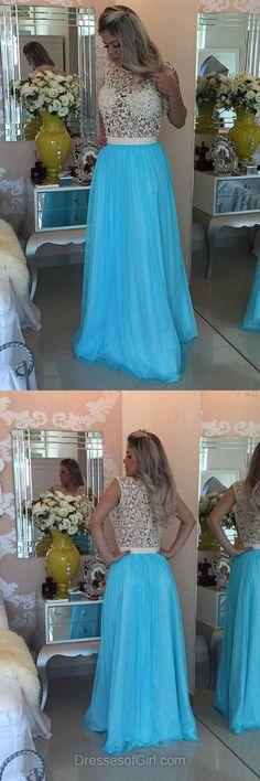 Lace Prom Dresses, Aline Prom Dress, Scoop Neck Evening Dresses, Blue Party Dresses, Long Formal Dresses