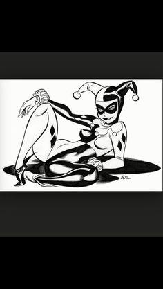 "marvelous-mr-m: ""Harley Quinn by Bruce Timm. Harley Quinn Tattoo, Harley Quinn Drawing, Joker And Harley Quinn, Bruce Timm, Fille Gangsta, Ligne Claire, Comics Girls, Dc Comics, Comic Character"