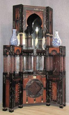 CARLO BUGATTI corner cabinet, wood, copper, metal and bone, 294 x 130 cm, from the Villa di Lodi