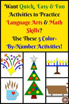 Find 5 color-by-number activities--3 math activities and 2 language arts activities in the No Prep resource: improper fractions, equivalent fractions, the homophones to, too, two and they're, their, there and a review of basic arithmetic. Aimed at upper elementary students, this resource is also suitable for ELLs at beginning & early intermediate proficiency levels of English. Student worksheet pages & answer keys come in both color and black-and-white versions.
