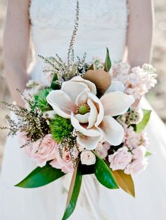 magnolias and roses | wedding bouquet
