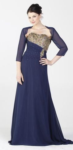 High End Navy Blue Prom Gown Gold Beads Strapless Bolero Jacket $297.99