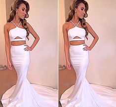 2 Piece Prom Gown,Two Piece Prom Dresses,White Evening Gowns,2 Pieces Party Dresses,Evening Gowns,Simple Formal Dress For Teens