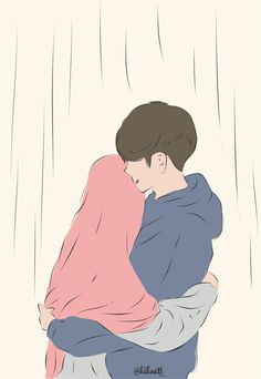 Cute Couple Cartoon, Cute Couple Art, Cute Love Cartoons, Anime Love Couple, Cute Muslim Couples, Cute Anime Couples, Cute Couple Wallpaper, Islamic Cartoon, Hijab Cartoon