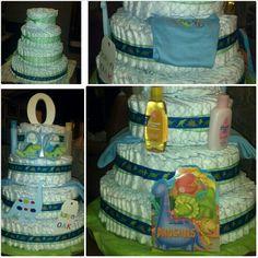 Dinosaur baby shower diaper cake 4 tiers