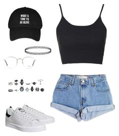 """Sans titre #354"" by charliesclothes ❤ liked on Polyvore featuring Levi's, Topshop, adidas and Ray-Ban"