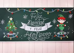 Ideas para el periódico mural escolar | Diario Educación Christmas Time, Christmas Crafts, Christmas Decorations, Christmas Ornaments, Holiday Decor, Hanging Christmas Lights, School Murals, School Decorations, Window Art