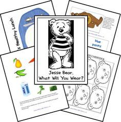 Activities for Book, Jesse Bear, What Will You Wear? by Nancy White Carlstrom (from Lapbook from Spell Out Loud)