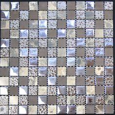 """Legion Furniture 1"""" x 1"""" Glass Metal Tile in Multi-Color - kitchen backsplash"""
