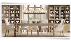 My future dining room table! Decor, Rustic Elegance, Restoration Hardware, Home, Parsons Dining Chairs, Dining Table Chandelier, Home Decor, Home Furnishings, Dining Room Table