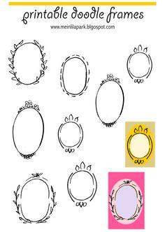 Free printable oval frame doodles - Rahmen - freebie |