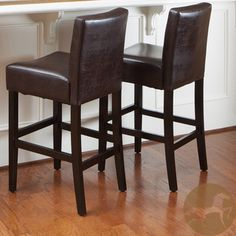 Overstock.com - Christopher Knight Home Brown Leather Bar Stools (Set of 2), $212.51, backs too short?