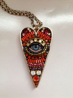third eye, heart, bead, blue, pendant, necklac, unusual jewelry, mosaic, eyes