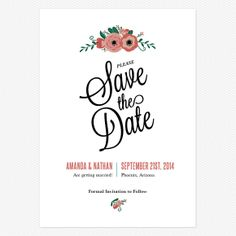 Botanical Love Save the Date Postcards www.lovevsdesign.com