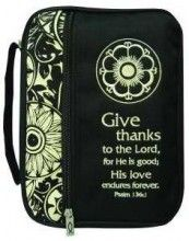 Bible Cover Canvas Give Thanks to The Lord Extra Large Black White for sale online Psalm 136, Psalms, Grateful Heart, Thankful, Black Tie Party, Large Black, Black And White, Bible Covers, Ribbon Bookmarks