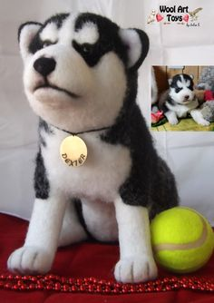 Custom Needle felted Dog Siberian Husky Puppy by WoolArtToys