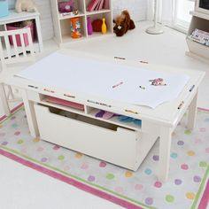 Classic Playtime Vanilla Deluxe Activity Table with Free Paper Roll - Activity Tables at Hayneedle Kids Play Table, Kid Table, Table And Chair Sets, Kids Storage, Built In Storage, Bonus Room Playroom, Bookshelves Kids, Playroom Organization, Diy Entertainment Center