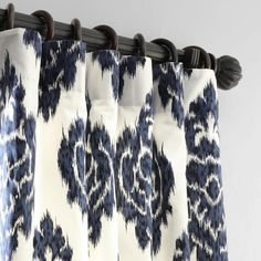 Exclusive Fabrics & Furnishings Ikat Blue Room Darkening Printed Cotton Curtain - 50 in. W x 108 in. L-PRTW-D24A-108 - The Home Depot Ikat Curtains, Curtains 1 Panel, Printed Curtains, Home Curtains, Cotton Curtains, Room Darkening Curtains, Colorful Curtains, Country Curtains, Ikat Pattern