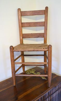 Vintage Oak Ladder Back Chair by LittlestSister on Etsy, $55.00