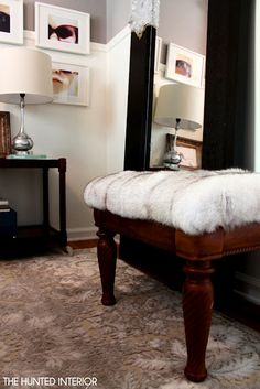 So cool!  Curb side table covered with inherited fur coat.  See at at http://thehuntedinterior.blogspot.com/2012/06/fur-ottoman-easiest-project-ever.html