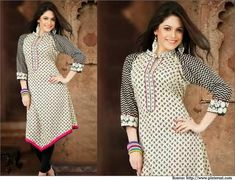 The cool cotton applique cut #designer kurti in black and white print has a soothing effect on the onlooker.