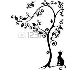Newclew Cat under a tree looking at the bird friend Flying Resting On Tree Branches with leaves and flowers Vinyl Wall Decal Sticker Decor - Cat store galore