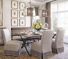 Make your dining room or eating area sumptuous with chair covers. surefit.com has many elegant covers for chairs, sofas and love seats. You can also find them at BedBathand Beyond, and most home decorating stores and sits. It is an easy and inexpensive way to redo dining area.