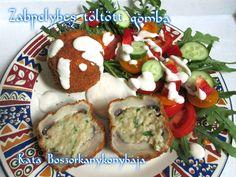 Zabpelyhes töltött gomba Caprese Salad, Food, Fungi, Essen, Yemek, Insalata Caprese, Meals