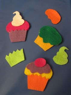 Build a cupcake activity with felt pieces! Busy Bag idea
