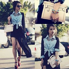 Light-blue denim shirt paired with fierce heels and black bottoms screams rocker.