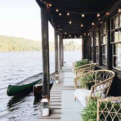 Porches via: witanddelight Outdoor Spaces, Outdoor Living, Lakeside Living, Lakeside Cottage, Outdoor Sheds, Beautiful Homes, Beautiful Places, Amazing Places, Haus Am See