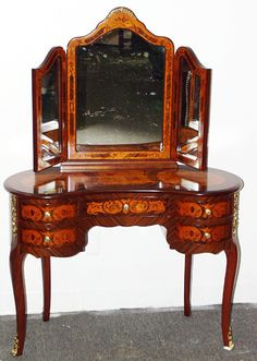 FRENCH STYLE SATINWOOD VANITY, H 55, L 38, D 18:Having a three sided mirror resting on the vanity table; five drawers; floral marquetry.