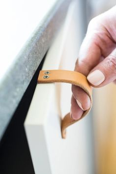"""Leather Cabinet Handle - The """"Lovejoy"""" - Handcrafted Leather Drawer Pulls and Cabinet Knobs Ideias Diy, Leather Handle, Diy Leather Drawer Pulls, Cabinet Handles, Modern Minimalist, Leather Working, Leather Craft, Diy Furniture, Furniture Handles"""