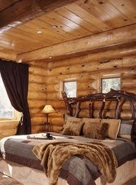 Rustic Decor ideas for mountain home - log cabin, branch headboard, neutral coverlet and dust ruffle