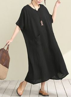 Cotton Solid Half Sleeve Mid-Calf Casual Dresses (1039743) @ floryday.com