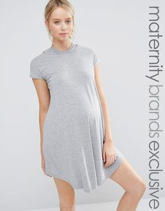 Image 1 of Club Lounge Maternity Oversized Jersey Dress With Hood