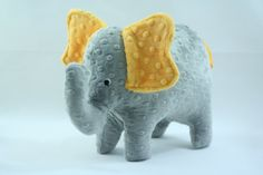 so soft and cute for a kid or baby! other animals and colors too! <3 Stuffed Elephant Toy Gray and Golden Yellow by TheWoodenQuail, $24.00
