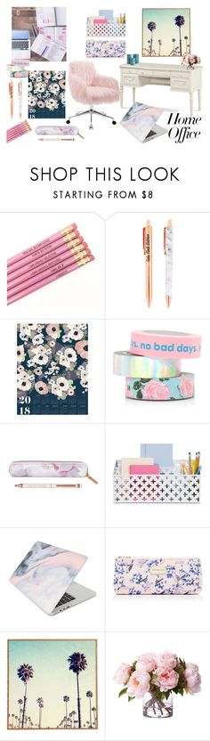 """""""girly home office"""" by christy-vnk on Polyvore featuring interior, interiors, interior design, home, home decor, interior decorating, Khristian Howell, ban.do, Ted Baker and Gabriella"""