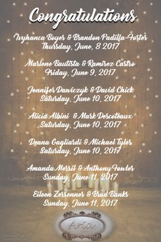 From all of us at Aria, we wish to say congratulations and thank you to all of these beautiful newlywed couples for sharing their special day with us! ** Repost - We regret that we made an error on one of the bride's names yesterday. The error has been fixed.
