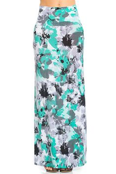 Mint Floral Printed Maxi Skirt – Niobe Clothing