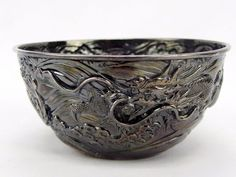 Antique 19th Century Meiji Era Japanese Jungin Sterling Silver Dragon Bowl