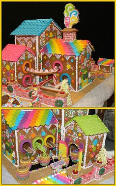 Giant Gingerbread Candy Factory (with candy conveyor belts) by Lynne Schuyler. Gingerbread House Parties, Gingerbread Village, Gingerbread Decorations, Christmas Gingerbread House, Gingerbread Cookies, Christmas Goodies, Christmas Treats, Christmas Baking, Christmas Fun