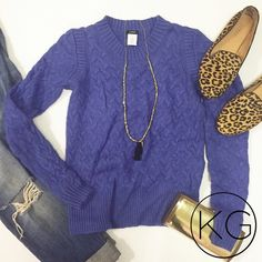 """J. Crew Honeycomb Cable Knot Sweater in Periwinkle In beautiful pre-owned condition!                                       •17"""" from underarm to underarm, 22"""" from shoulder to hem •Incredibly soft- vibrant purpley blue color                         •45% Viscose, 23% Nylon, 17% Wool, 15% Angora                                                                       no trades nor lowball offers                         Thank you for shopping in my closet!! J. Crew Sweaters Crew & Scoop Necks"""